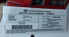 Land Rover Defender 110 NAS V8 3.9 1993- Engine Model ID Decal Sticker BTR6161