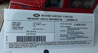 Engine Model ID Decal Sticker BTR6161 Land Rover Defender 110 NAS V8 3.9 1993