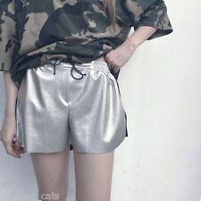 New metallic silver shiny shorts sporty harajuku japanese fashion korean grunge