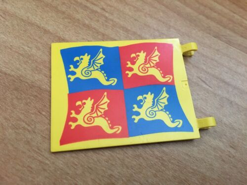 LEGO Rare Castle Flag 6 x 4 with Blue and Red Dragon 6086 part 2525px5