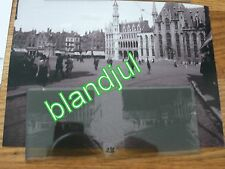plaque verre + Photo bruges Belgique 1919  la grand place