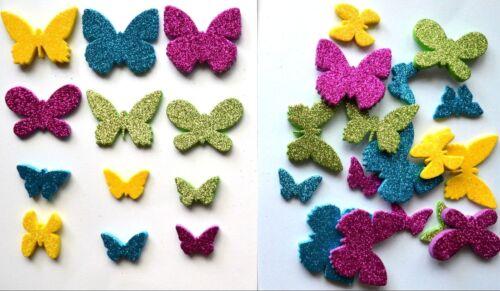 30 Asst Self Adhesive 3mm /& 5mm Deep Glitter Foam Butterfly Shapes 30-50mm Dia