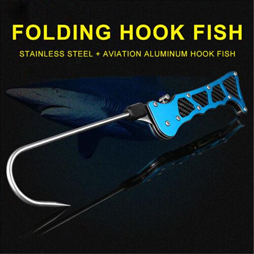 365mm Folding Sea Fishing Gaff Ice Landing Stainless Steel Spear Hook Heavy Duty