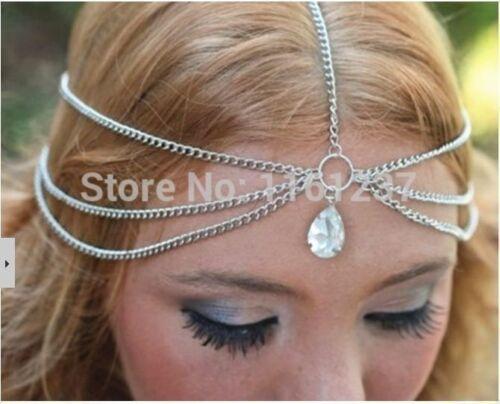 DECO Silver 1920/'s Flapper Goddess crystal Festival Embellishment Jewel Headband