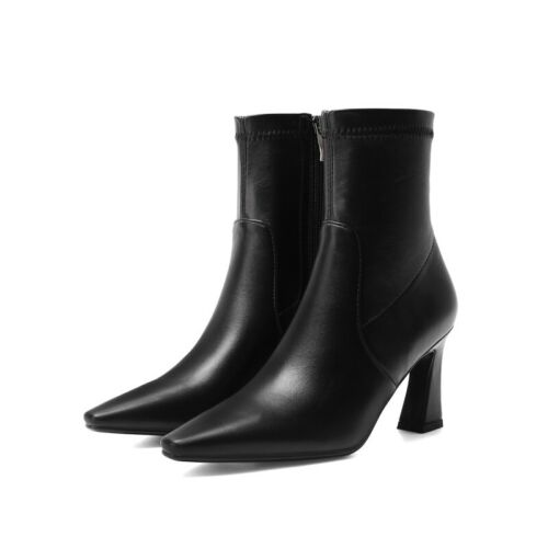 Details about  /Elegant Women Comfort Pull On Square Toe Ankle Boots Block Heels Shoes 34//43 D