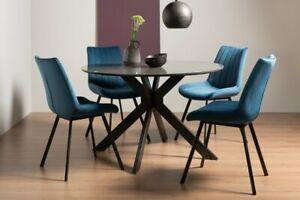 Hirst Grey Painted Glass 4 Seat Table & 4 Fontana Blue Velvet Fabric Chairs
