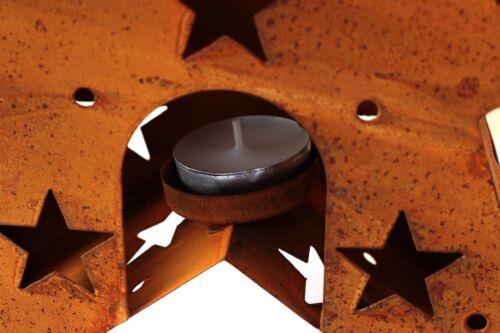 Deko Rost Metallstern mit Teelichthalter 31cm Teelicht Stern Halter rostend DEKO
