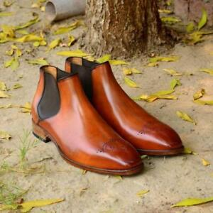 Handmade-Chelsea-Boots-Tan-Brown-Fashion-Party-Casual-Real-Calf-Leather-Shoes