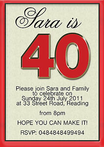 Image Is Loading 50 X 40th Birthday Party Invitations Mens Womens