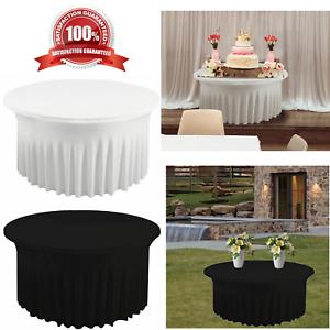 5-ft-environ-1-52-m-Spandex-jupe-style-TABLE-NAPPE-a-volants-ronde-Stretch-Housse-de-table-decor