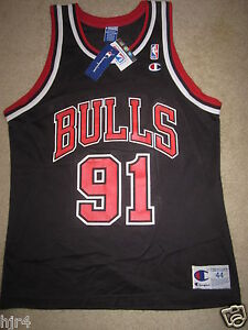 sale retailer af60b 464fb Details about Dennis Rodman #91 Chicago Bulls Champion NBA Black Jersey 44  NEW deadstock NWT