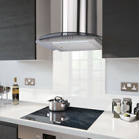 90cm Dc77 Stainles Steel Cooker Hood With White Fitted Glass Splashback