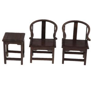 1//6 Dollhouse Vintage Furniture Set 1 Table and 2 Armchairs Dark Wood Tone B