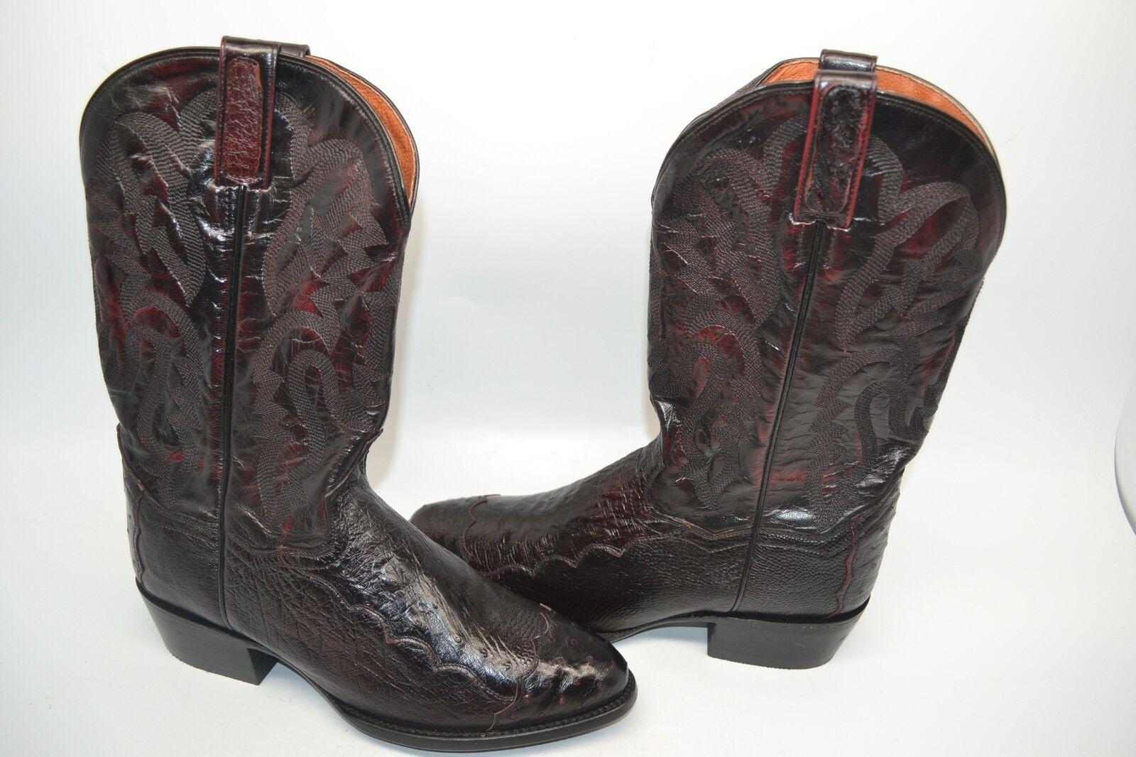DAN POST POST POST PUGH WESTERN schwarz OSTRICH TIP ROUND TOE 9 D COWBOY EXOTIC Stiefel DPP5205 dbc28e