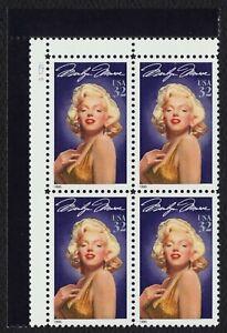 #2967 32c Marilyn Monroe, Placa Bloque [S112211 Ul ], Nuevo Cualquier 5=