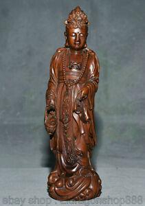 8.2 pouces vieux buis chinois sculpté Fengshui Guanyin Guanyin statue