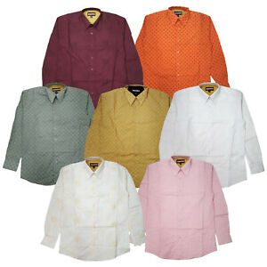 Men-039-s-Vibrant-Color-Long-Sleeve-Button-Down-Dress-Casual-Embroidered-Shirt-S-XL