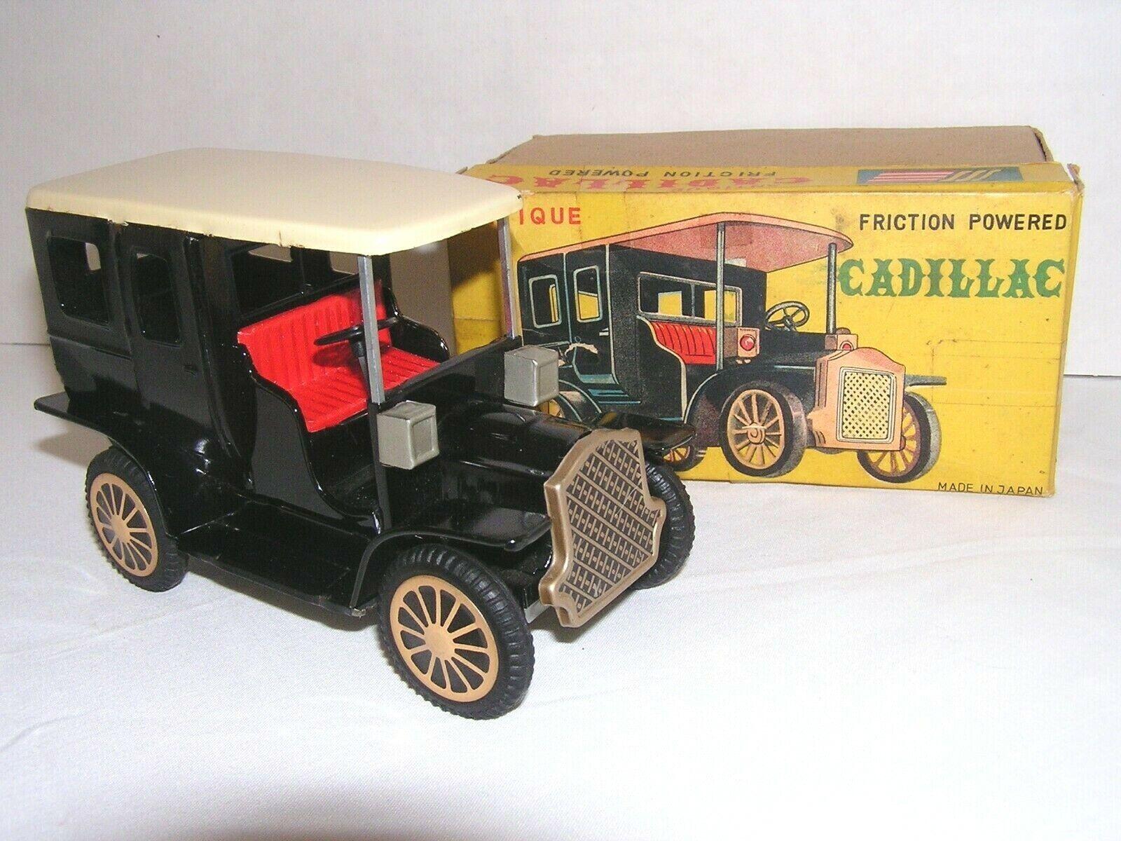 Antiguo Cadillac Negro Lata Litografiada Fricción Coche De Juguete Vintage Shioji Sss Japón Sin usar, en Caja