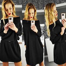 Women Off-Shoulder Loose Long Sleeve Cotton Dress Evening Party Mini Dress E E