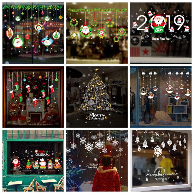 Christmas Decor Snowflakes Santa Claus Wall Vinyl Stickers Window Xmas Decal DIY