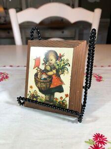 Vintage-Wood-Plaque-Wall-Art-Hummel-Goebel-Girl-with-Basket-and-Flowers