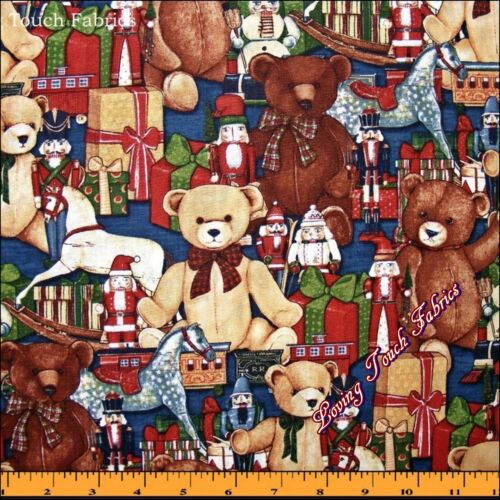 SSI ABBOTT CHRISTMAS TEDDY BEARS TOYS HORSES SOLDIERS FABRIC PRICED PER 1//2 YD