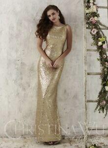 60c6e180000 Image is loading Christina-Wu-Gold-Bridesmaid-Prom-Dress-Size-6