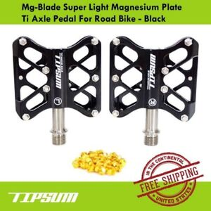 Tipsum Magnesium Plate 164g Mg-Blade Super Light  Ti Axle Road Bike Pedal Black