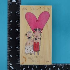 """STAMPS HAPPEN dolly mama/'s /"""" Who are these kids /""""  Rubber stamp wooden block"""