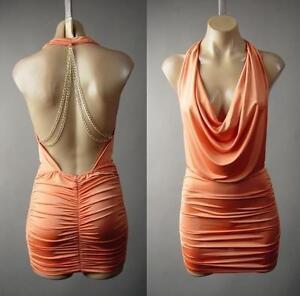 Plunge-Neck-Low-Cut-Gold-Chain-Open-Back-Backless-Club-Mini-233-mv-Dress-S-M-L