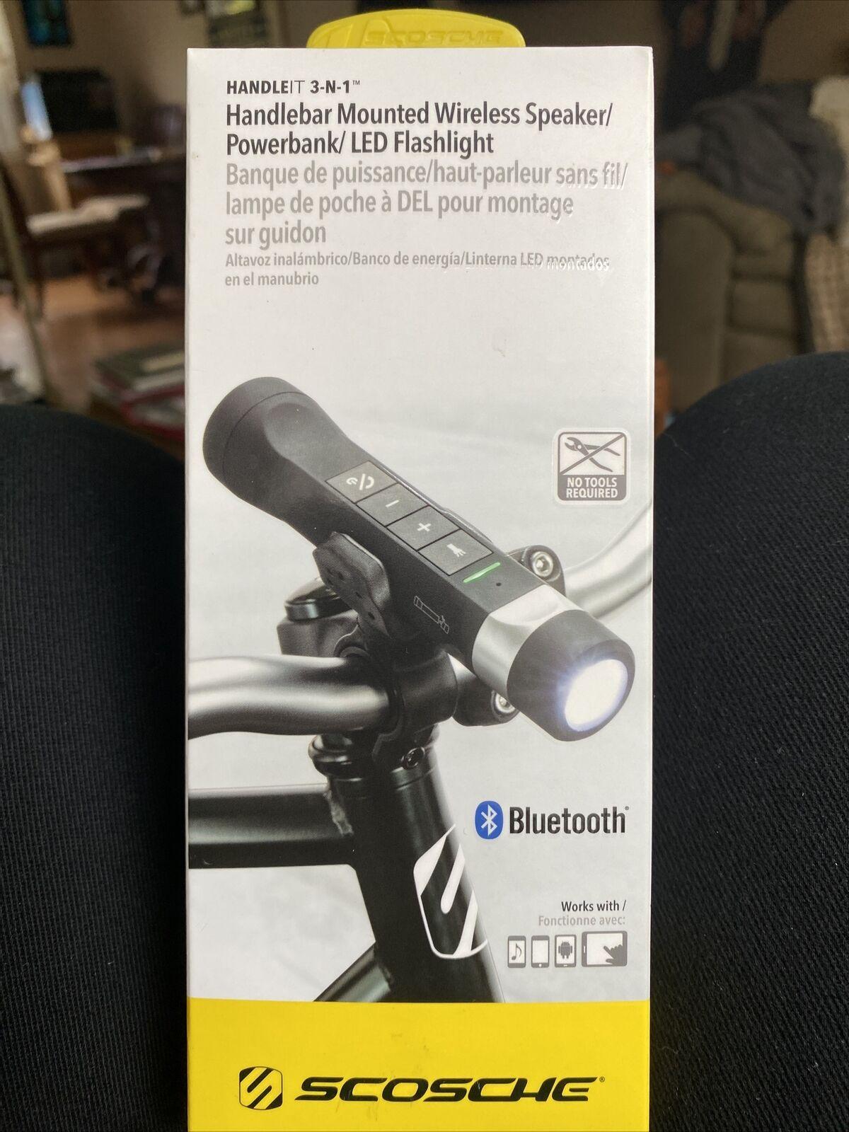 Scosche Handlebar Mounted Wireless Speaker/Powerbank/LED Flashlight brand new