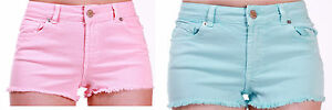 EX-Warehouse-Ladies-Girls-Baby-Blue-or-Baby-Pink-Mid-Rise-Denim-Hot-Pant-Shorts