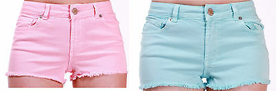 EX Warehouse Ladies Girls Baby Blue or Baby Pink Mid Rise Denim Hot Pant Shorts