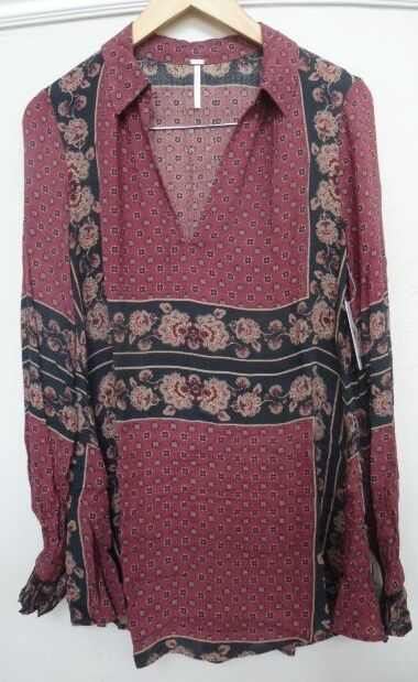 NWT Free People Changing Times Printed Tunic Retail