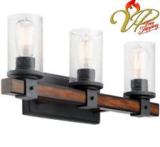 Kichler 3-Light Distressed Black/Wood/Glass Rustic Bathroom Vanity Light Fixture