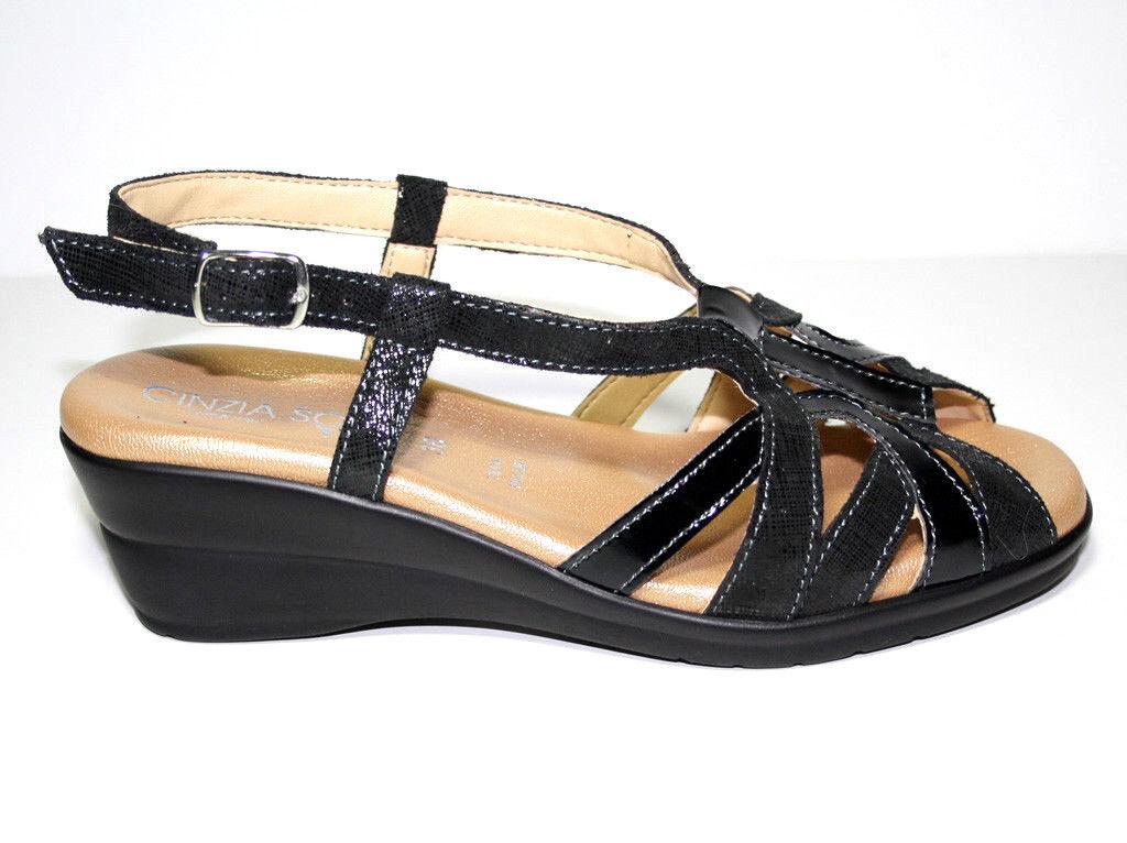 Último gran descuento Cinzia Soft Donna 103670-CV 001-3 Sandalo Vernice Nero, Biscotto