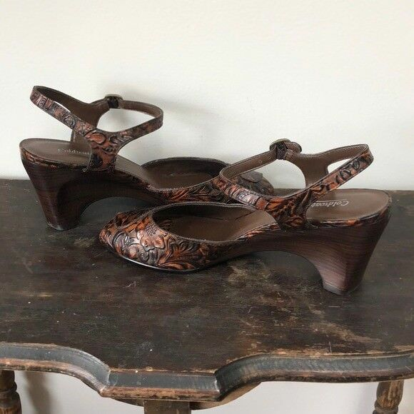 Coldwater Creek Size 9 Floral Patterned Leather Open Toe Strapped Strapped Strapped Heels 5a4665