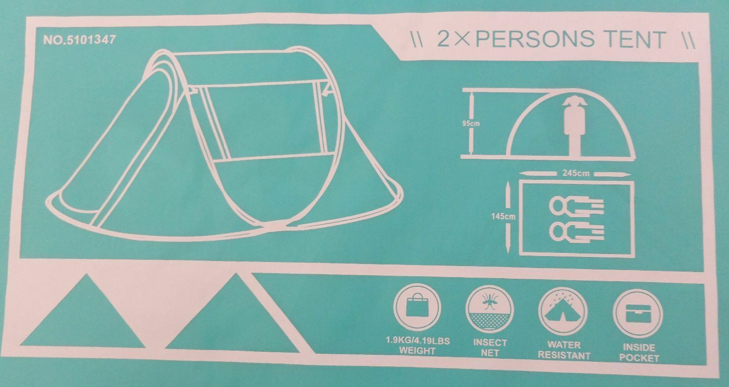 Semoo Wasserdichtes Zelt aufgefaltet  2 Sekunden für 2 Personen 245x145x95 AT9