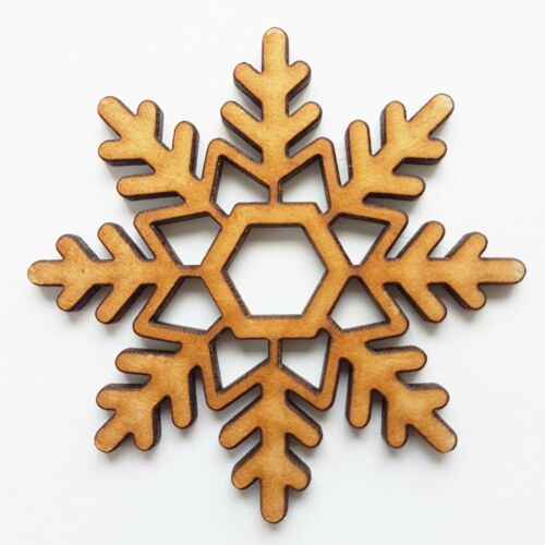 Snowflake x 10 50mm Christmas Decorations For Tree MDF Wood Art Family Snowman