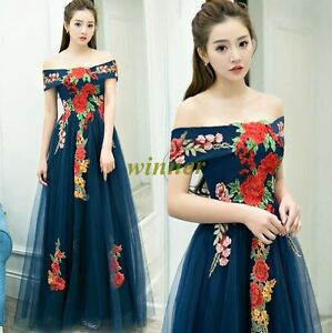 Womens Banquet evening dress 2017 new Korean style off shoulder Prom ...