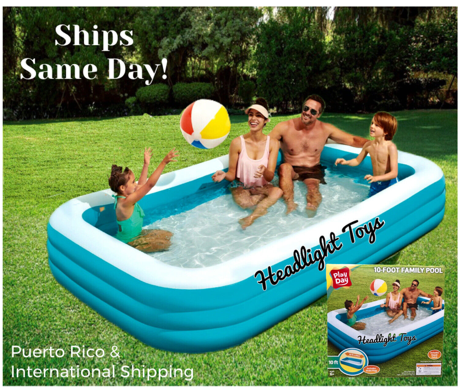 Play Day 10 ft Deluxe Family Inflatable Swimming Pool Kiddie Swim Center Lounge