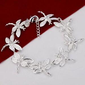 -UK- 925 Silver Plated Dragonfly Bracelet Bangle Women Fashion Jewelry (050)