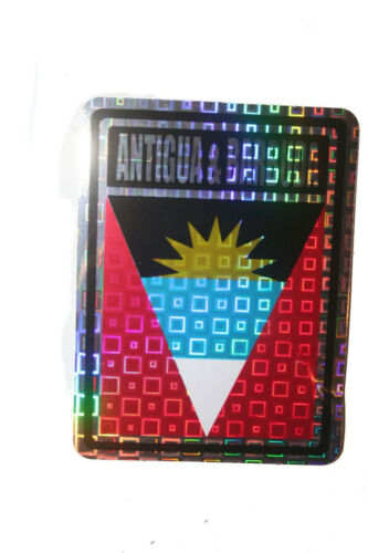 ANTIGUA /& BARBUDA COUNTRY FLAG  METALLIC BUMPER STICKER DECAL . 4 X 3 INCH