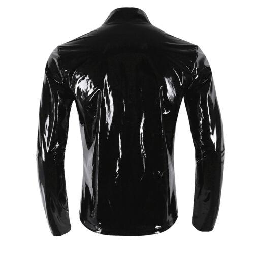 Herren Metallic T-Shirt Top Lack Leder Nachtclub Jacke Mantel mit Reißverschluss