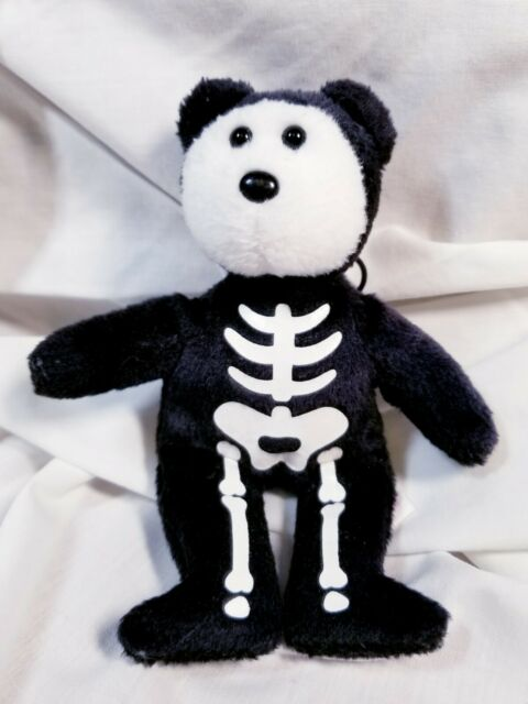 "Retired Ty Halloweenie Beanie Baby BONESES Skeleton Bear 5"" 2008 with Butt Tag"