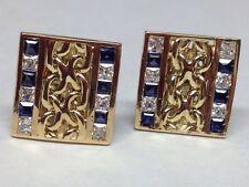 GORGEOUS BLUE DESIGNED CUFFLINKS 14K YELLOW GOLD
