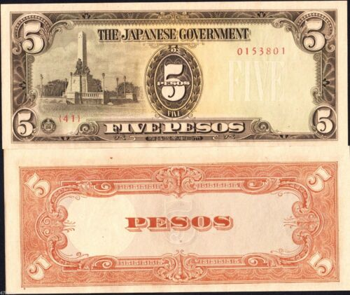 5 Pesos Military Note UNC Philippines//Japan Occupation 1943 WWII
