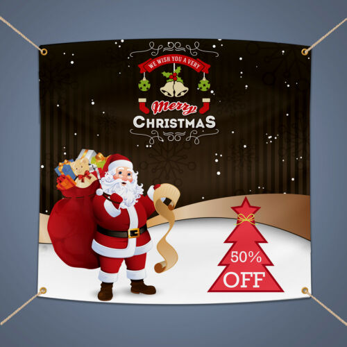 MERRY CHRISTMAS Banner, Holiday Business Sale Advertising Vinyl Sign, 3' X 2'