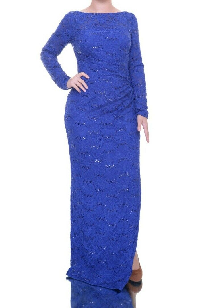 Ralph Lauren Long-Sleeved Sequined-Lace Gown Größe 14