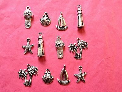 Tibetan silver mixed seaside themed charms 12 per pack